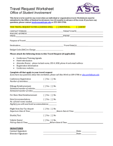 Travel Request Worksheet  Office of Student Involvement