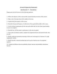 Advanced Engineering Mathematics Questionnaire # 1 – Introduction