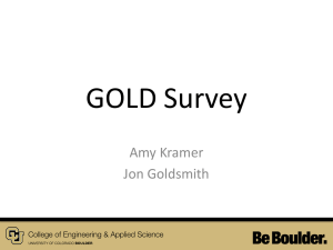 GOLD Survey Amy Kramer Jon Goldsmith