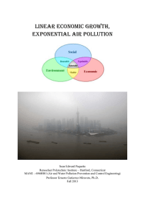 Linear economic growth, exponential air pollution