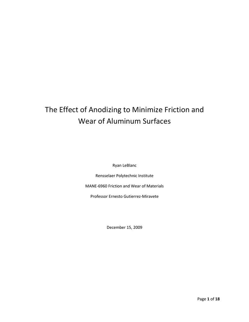 The Effect of Anodizing to Minimize Friction and TITLE PAGE