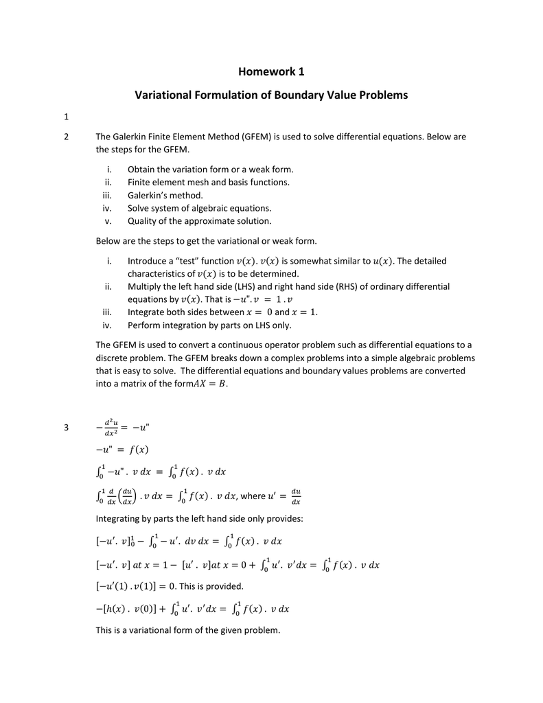 Homework 1 Variational Formulation of Boundary Value