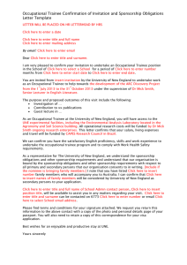 Occupational Trainee Confirmation of Invitation and Sponsorship Obligations Letter Template