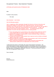 Occupational Trainee - Duty Statement Template