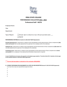 PERU STATE COLLEGE  PERFORMANCE EVALUATION 2015 - 2016 Professional Staff - NSCPA