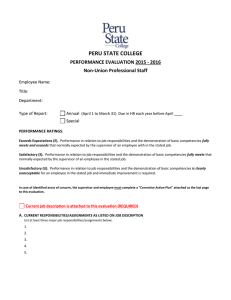 PERU STATE COLLEGE  PERFORMANCE EVALUATION 2015 - 2016 Non-Union Professional Staff