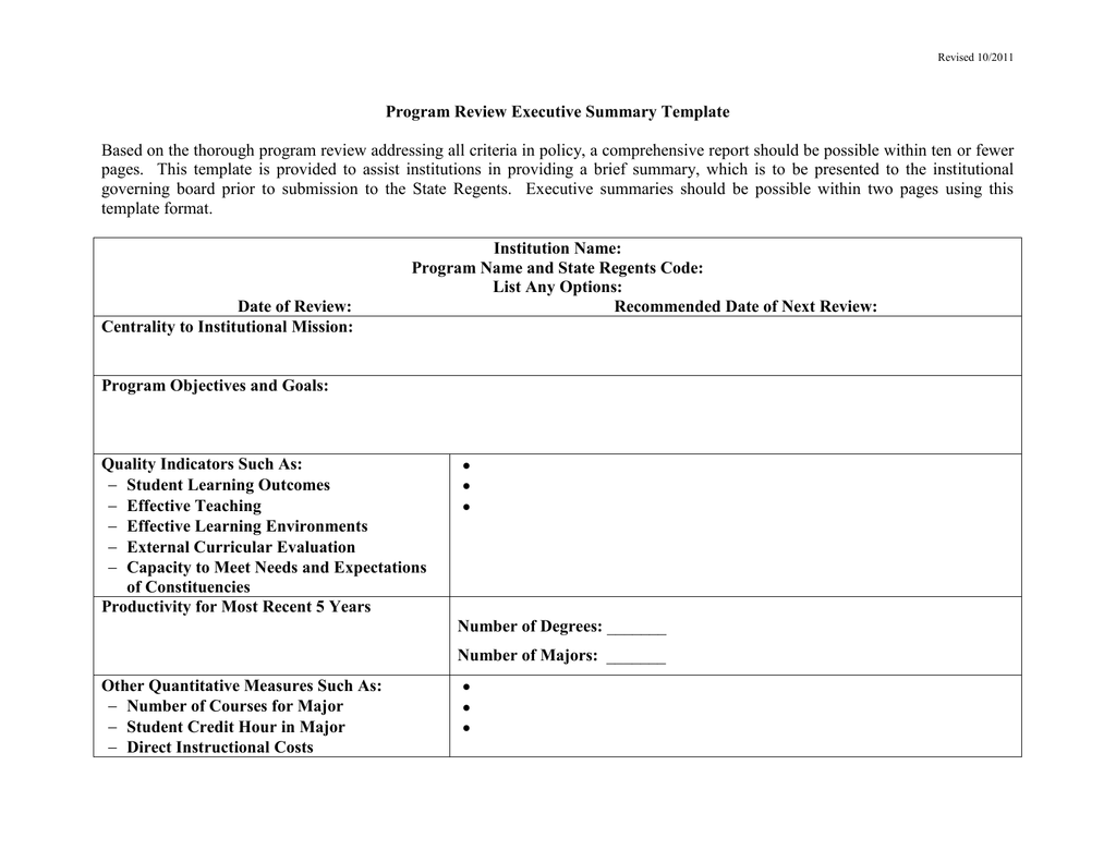 Program Review Executive Summary Template