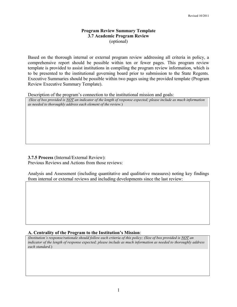 Academic program review self study template | acquit 2019.