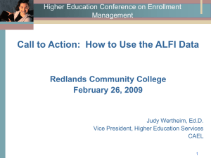 Call to Action:  How to Use the ALFI Data