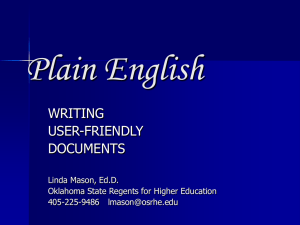 Plain English WRITING USER-FRIENDLY DOCUMENTS