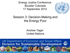 Session 3: Decision-Making and the Energy Poor Energy Justice Conference Boulder Colorado