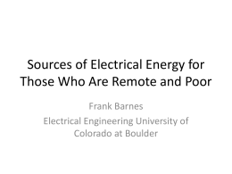 Sources of Electrical Energy for Those Who Are Remote and Poor