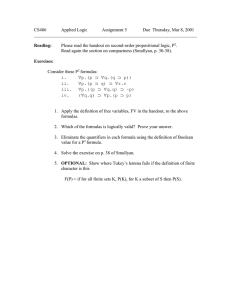 CS486 Applied Logic Assignment 5 Due  Thursday, Mar 8, 2001