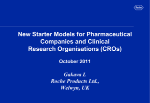 New Starter Models for Pharmaceutical Companies and Clinical Research Organisations (CROs) Gakava L