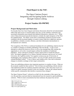 Final Report to the NSF: Project Number IIS-9907892  The Open Citations Project: