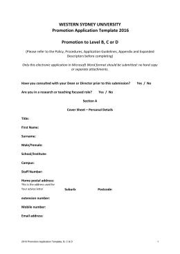 WESTERN SYDNEY UNIVERSITY Promotion Application Template 2016