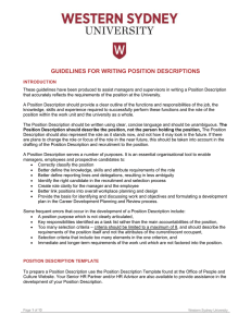 GUIDELINES FOR WRITING POSITION DESCRIPTIONS