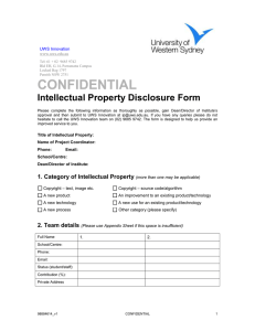 CONFIDENTIAL Intellectual Property Disclosure Form