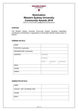 Nomination Western Sydney University Community Awards 2016