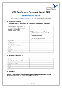 Nomination Form  UWS Excellence in Partnership Awards 2014 1.  NOMINEE DETAILS