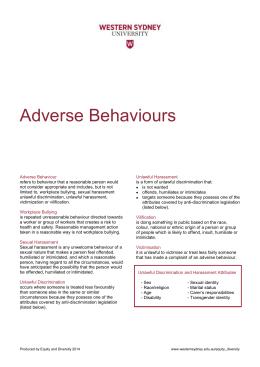 Adverse Behaviours