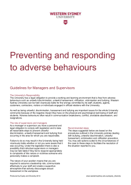 Preventing and responding to adverse behaviours Guidelines for Managers and Supervisors
