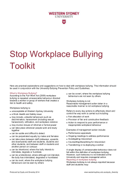 Stop Workplace Bullying Toolkit