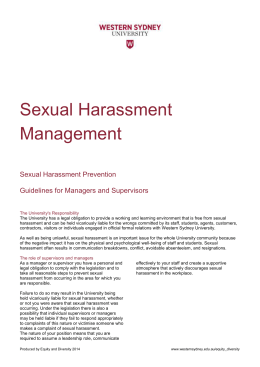 Sexual Harassment Management Sexual Harassment Prevention