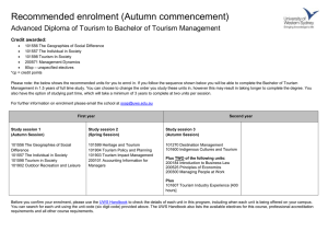 Recommended enrolment (Autumn commencement)  Credit awarded: