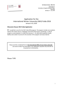 Application for the International Winter University (IWU) Fulda 2016 January 4-23, 2016