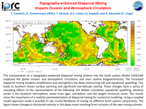 Topography-enhanced Diapycnal Mixing Impacts Oceanic and Atmospheric Circulation