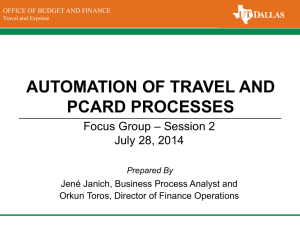 AUTOMATION OF TRAVEL AND PCARD PROCESSES – Session 2 Focus Group