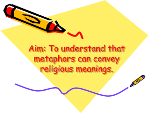 Aim: To understand that metaphors can convey religious meanings.