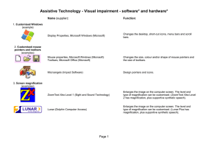 Assistive Technology - Visual impairment - software* and hardware*  Name Function: