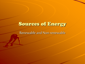 Sources of Energy Renewable and Non-renewable