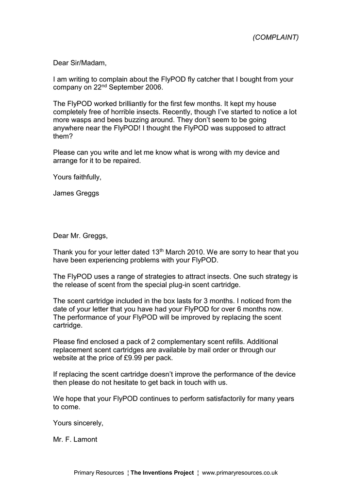 Complaint Dear Sir Madam