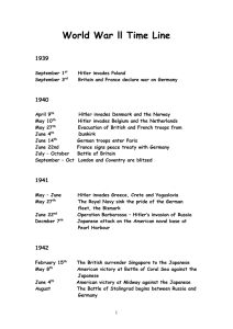 World War ll Time Line  1939 1940