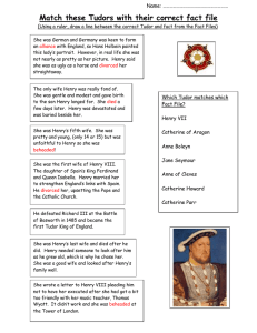 Match these Tudors with their correct fact file Name: ………………………………………………... (