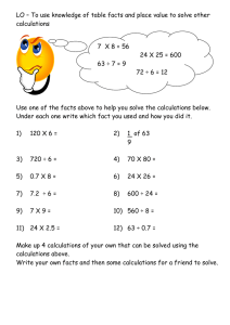 LO – To use knowledge of table facts and place... calculations 7  X 8 = 56 24 X 25 = 600