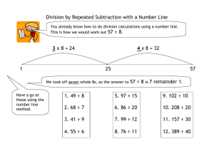 Division by Repeated Subtraction with a Number Line  57 ÷ 8 57