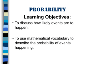 Probability Learning Objectives: