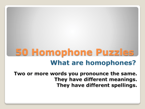 50 Homophone Puzzles What are homophones? They have different meanings.