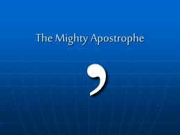 The Mighty Apostrophe