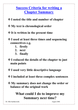 Success Criteria for writing a Chapter Summary