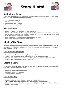 Story Hints!  Beginning a Story