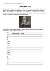 Shakespeare Plays LO: to gather evidence using secondary sources