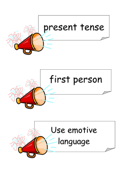 present tense first person Use emotive