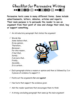 Checklist for Persuasive Writing  