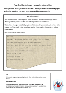 Year 6 writing challenge – persuasive letter writing