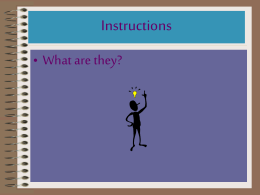 Instructions • What are they?